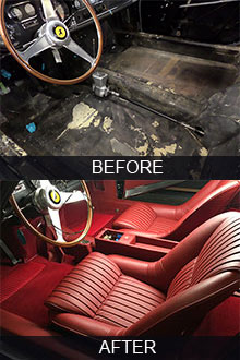 Black 1967 Ferrari 275 GTB4 seats restoration before vs after