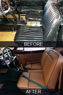 1954 Jaguar XK140 coupe seats restoration before vs after